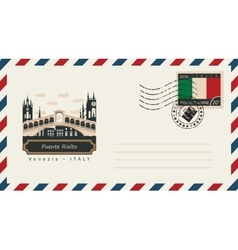 envelope with postage stamp with Puente Rialto vector image