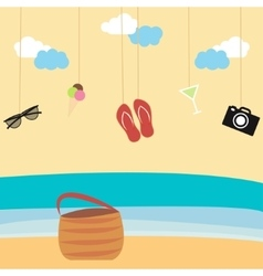 Summertime background with hanging summer icons vector