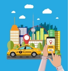 Urban cityscape with cab phone taxi service app vector image