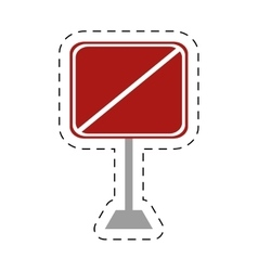 Traffic prohibited square sign pole vector