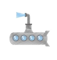 Drawing submarine periscope underwater ocean vector