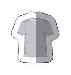 Sticker grayscale silhouette with male t-shirt vector