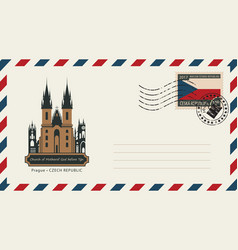 An envelope with postage stamp with prague church vector