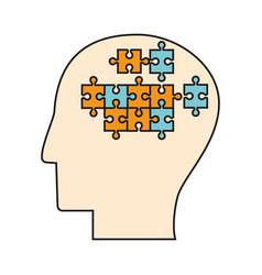 profile head puzzle pieces vector image