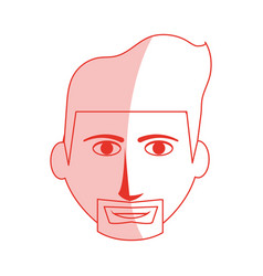 Red silhouette shading cartoon front face man with vector