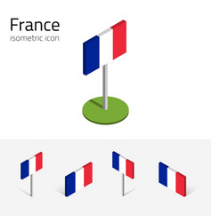 France flag set of 3d isometric icons vector