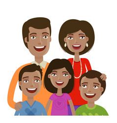 Portrait of happy cheerful family people vector