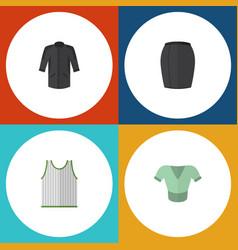 Flat icon garment set of uniform stylish apparel vector