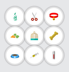 Flat icon pets set of vaccine shears temperature vector