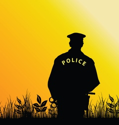 Policeman in the nature vector