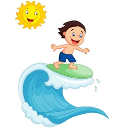 Happy little boy surfing vector