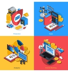 Financial isometric set vector