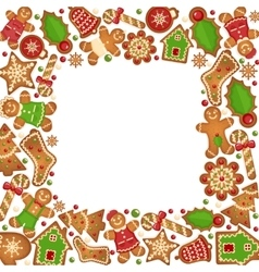 Gingerbread cookies frame vector image