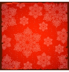 Beautiful snowflakes on a red background vector
