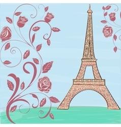Eiffel tower vintage background vector image