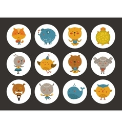 Set of animal avatars vector