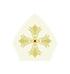 Papal tiara hat with cross icon flat style vector