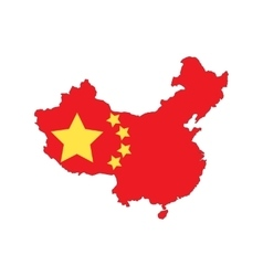 China state flag map vector