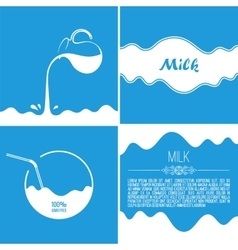 Milk flows from jug spray drops and white wave on vector
