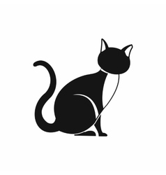 Black cat icon simple style vector
