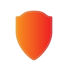 Shield sign  orange applique isolated vector