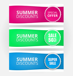 A set of templates for banners seasonal discounts vector