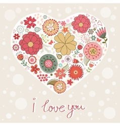 Beautiful card with floral heart vector image vector image