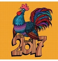 Beautiful cock 2017 new year vector