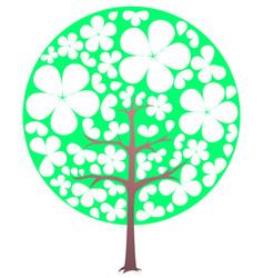 Blooming tree spring transparent flowers vector