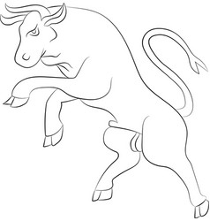 bull rebelling outline vector image vector image