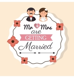 Cartoon man and woman wedding card vintage design vector