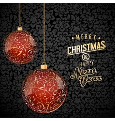 Christmas background with red and gold glass vector image vector image