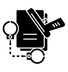 criminal law - handcuffs - docs - gun - evidence vector image