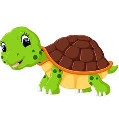 cute cartoon turtle vector image vector image