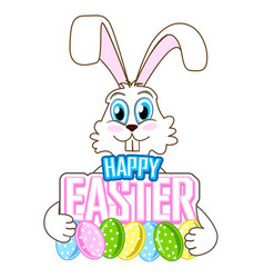 Cute easter bunny with colorful eggs vector