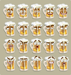 cute series of smiles beer stickers vector image vector image