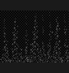 fizzing air bubbles on black background vector image