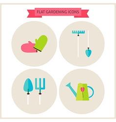 Flat gardening website icons set vector