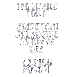 Freehand hand drawn font with english letters from vector image