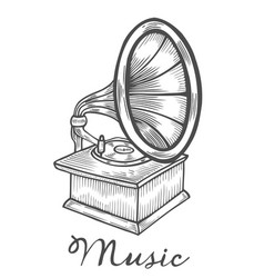 hand drawn gramophone vector image