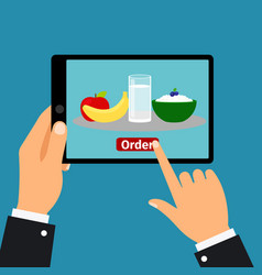 Hand holding tablet order food vector