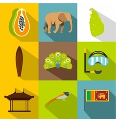 Holiday in sri lanka icons set flat style vector