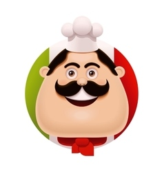 Italian chef with mustache icon vector
