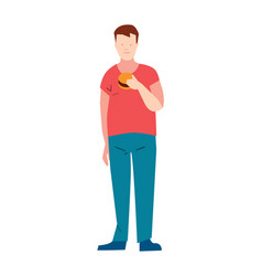 Man in pants and t-shirt eating burger vector