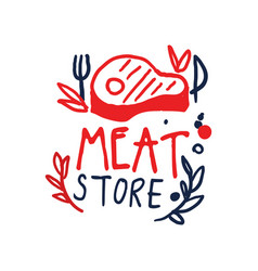 meat store logo template vintage label colorful vector image vector image