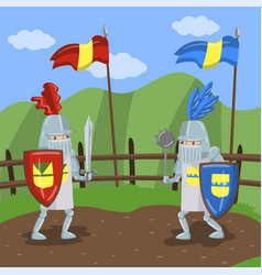 Medieval knits tournament two amed knights vector