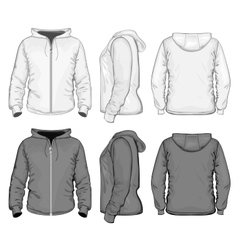 Mens hooded sweat-shirt with zipper vector image