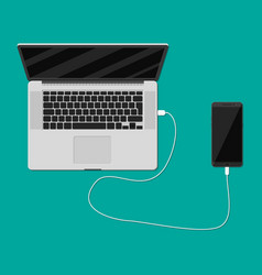 Mobile phone charging from laptop usb port vector