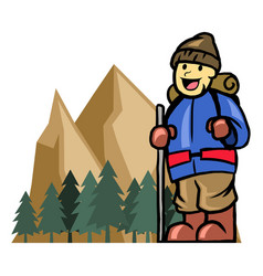 mount climber boy vector image