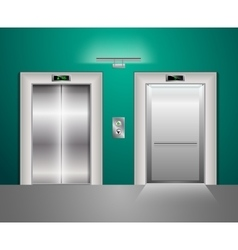 Open and closed modern metal elevator doors hall vector